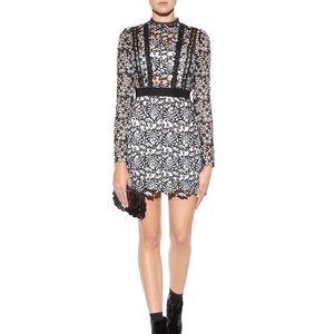 Self-Portrait Antoinette Mini lace Dress Black